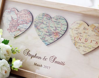 3 Personalized Map Heart Art Newlywed Gift Heart Map Print Romantic Gift Engagement Gift idea Map Wall Art Framed Wedding  Custom Map Art #2