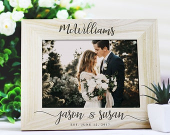 Rustic Wedding Photo Frame, Wedding gift for Couples, Gift for Wife, Wood Photo Frame, Personalized Wedding Frame, Anniversary Picture Frame