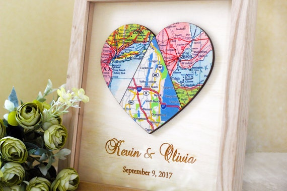 Unique Wedding Gift For Couple Three Piece Map Heart Map Print Etsy