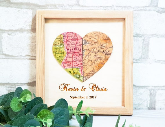 Wedding Gifts, Personalized Map Art Heart Map, Bridal Shower Gift,  Anniversary Gift, Unique Wedding Gift for Couple, Gift for bride