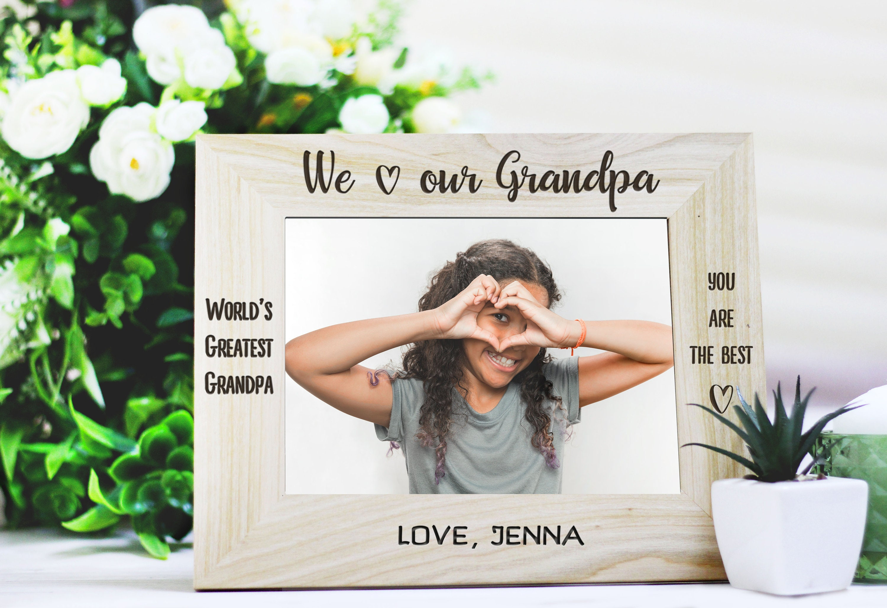 Personalized Engraved Photo Frame for Grandpa I Love my | Etsy