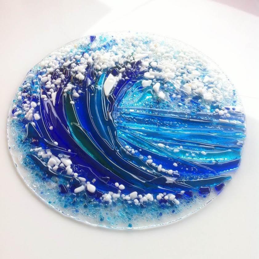 Fused Glass Wall Art: Fused Glass Wall Art Sea Wave Sea Wall Decor Sea Wall Art