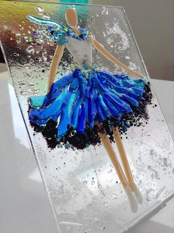 Fused glass wall art Ballerina fused glass pucture gift ...