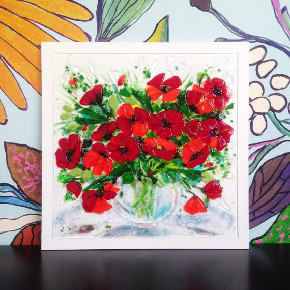 Fused Glass Wall Art: Items Similar To Fused Glass Poppy