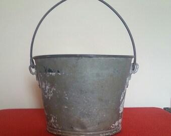 Galvinized Bucket Vintage Heavy Duty Garden Pail Dairy Bucket