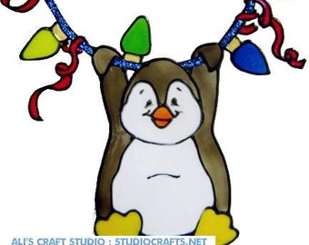 Christmas Lights Penguin Handpainted Window Cling - get the look of stained glass  (Ref 1139) - Hand crafted by Ali's Craft Studio