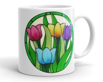 Colourful Tulips Ceramic Mug - 11oz Printed Mug (printed in house) featuring images of beautiful tulips created by Ali's Craft Studio