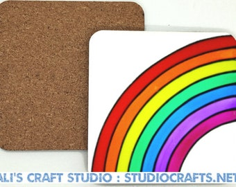 Rainbow coasters - 95mm square heat resistant wooden or acrylic coasters featuring rainbows created by Ali's Craft Studio