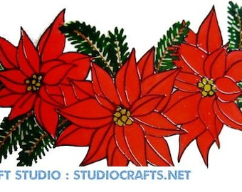 Christmas Poinsettia Swag Window Cling - Handpainted, get the look of stained glass  (Ref 1218) - Hand crafted by Ali's Craft Studio