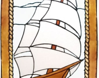 Tall Ship in Frame Window Cling Handpainted to get a Stained Glass Effect (Ref 1265) - Hand crafted by Ali's Craft Studio