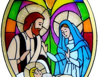 Nativity Panel Handmade Peelable Window Cling - Get the look of stained glass (Ref. 857) - Hand crafted by Ali's Craft Studio