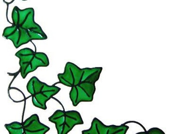 Ivy Corner Window Cling - Handpainted to get the look of stained glass  (Ref 865) - Hand crafted by Ali's Craft Studio