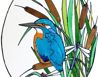 Stunning Oval Kingfisher Handpainted Window Cling - get the look of stained glass  (Ref 1234) - Hand crafted by Ali's Craft Studio