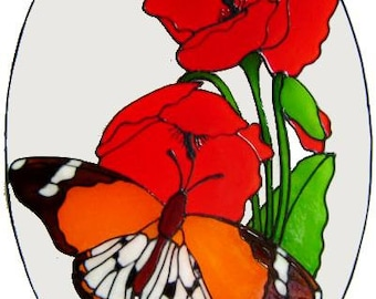 Butterfly & Poppies Frame Handpainted Window Cling - get the look of stained glass  (Ref 1041) - Hand crafted by Ali's Craft Studio