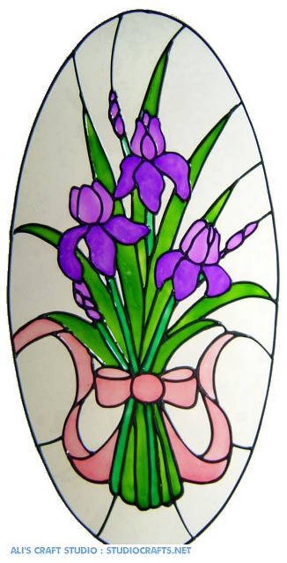 IRIS OVAL DOOR WINDOW CLINGS STAINED GLASS EFFECT DECAL SUN CATCHER DECORATION