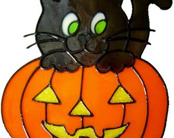 Cat & Pumpkin Handmade Peelable Window Cling - Get the look of stained glass (Ref. 80) - Hand crafted by Ali's Craft Studio