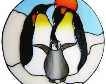 Penguin Family Handpainted Window Cling - get the look of stained glass  (Ref 781) - Hand crafted by Ali's Craft Studio