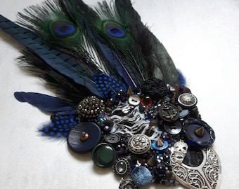 Dark Chronicles hair ornament: Sailor's Hope, ooak burlesque|goth|tribal fusion belly dance hair clip | Gatsby flapper art deco fascinator