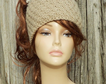 Ponytail hat knit  22a479cfeba