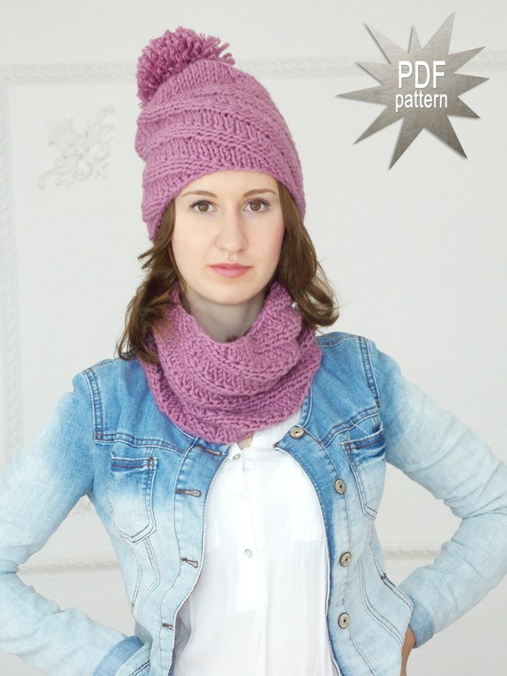 Knitting Pattern Pompom Hat Scarf Set Pattern Scarf And Etsy