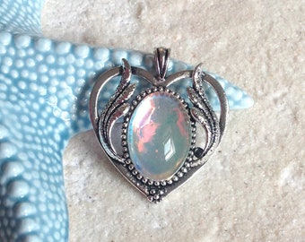 Support cabochon 25x18mm/pendant silver wing heart antique heart / heart charm