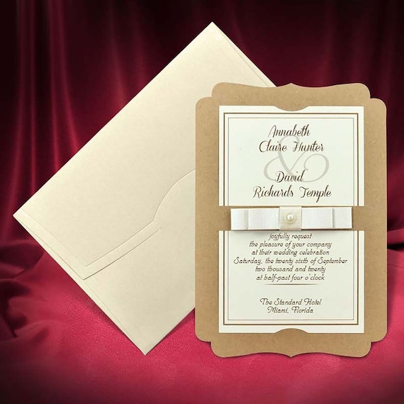 Vintage Wedding Invitation Card With Bow Elegant Invitations With Pearl Bead Free Custom Printing Code 4672