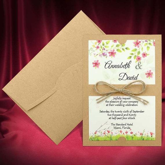 Rustic Wedding Invitation Card With Kraft Envelope Floral Etsy