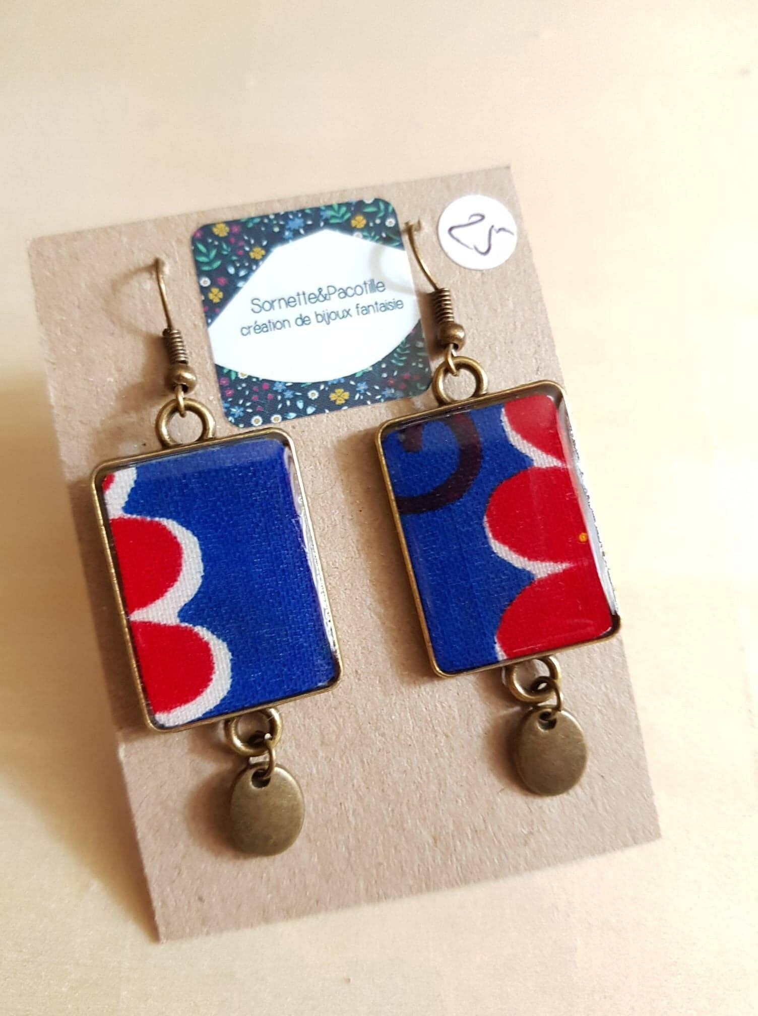 earrings rectangular two tone royal blue and red wax bronze 15x28mm