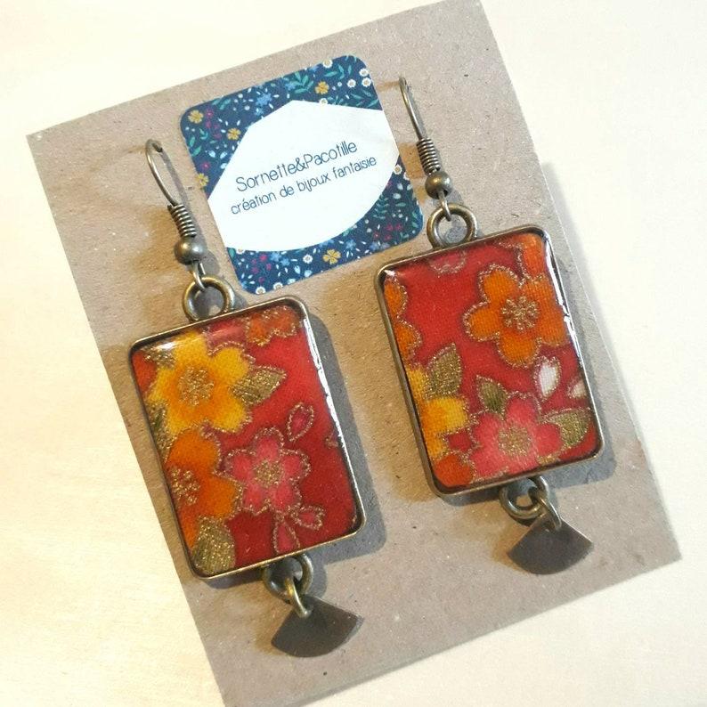 Bronze cabochon japanese fabric earrings