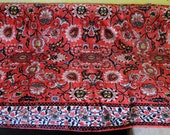 Vintage sofaspread rug, GDR viscose kilim, floral pink red ethnic style old German carpet cover covering spread throw bed spread