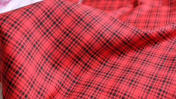 fabric Soviet tartan fabric 2.4 yd retro classic kilt cloth blue  red checkered textile Vintage Plaid Fabric Scottish style 2.2 m