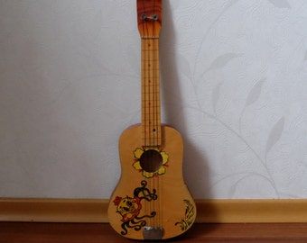 Vintage Children's Guitar Toy, wooden guitar child decor, retro Russian kids musical instrument, small old guitar, collectible child's toy