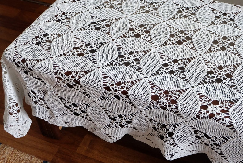 Vintage Cotton Crocheted Tablecloth antique table decor napkin handmade cottage chic table runner retro white rectangular lace table cloth