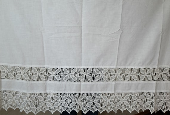 white cloth with crocheted trim antique fabric with lace edging Vintage Lace Cotton Textile Russian folk handcraft crochet decor border