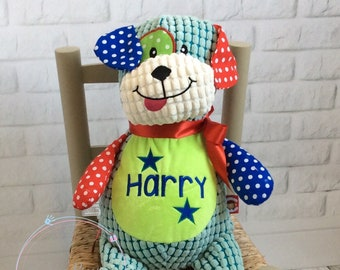 Cubbie Harlequin Dog, Personalised Teddy Bear, Embroidered Baby Gift, Stuffie,  christening, new baby gift