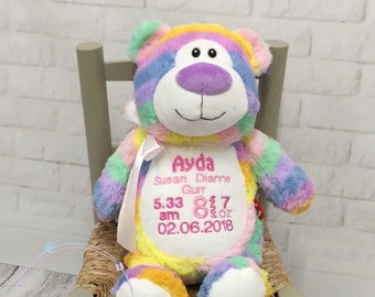 Cubbie Rainbow Teddy Bear, rainbow baby gift, new baby gift, flowergirl pageboy wedding, embroidered and personalised, personalized stuffie
