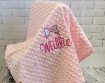Personalised Baby Blanket, embroidered, bow design, pink, minky bubble fabric personalized baby gift