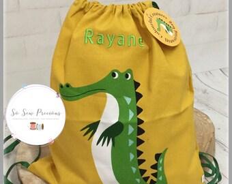 1fb43cd43df Gepersonaliseerd kind koord tas, rugzak, krokodil, gepersonaliseerde tas,  kleuterschool