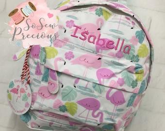 Personalised Child's Mini Backpack Rucksack, Flamingo, Personalized Bag, nursery school