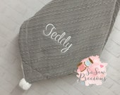 Personalised Baby Blanket, embroidered, Cable Knit with pom poms and sherpa , personalized baby gift, grey