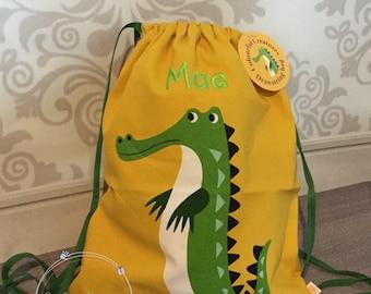 Personalised Child's Drawstring Bag, Rucksack, Crocodile, Personalized Bag, nursery school