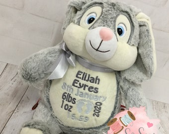 Personalised Cubbies  Bunny Rabbit, Embroidered Baby Gift, Teddy Bear, Christening, Birth, Baptism, Stuffie, Birth Block Personalized