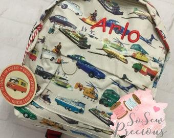 Personalised Child's Mini Backpack Rucksack, Cars Transport, Personalized Bag, Vintage design