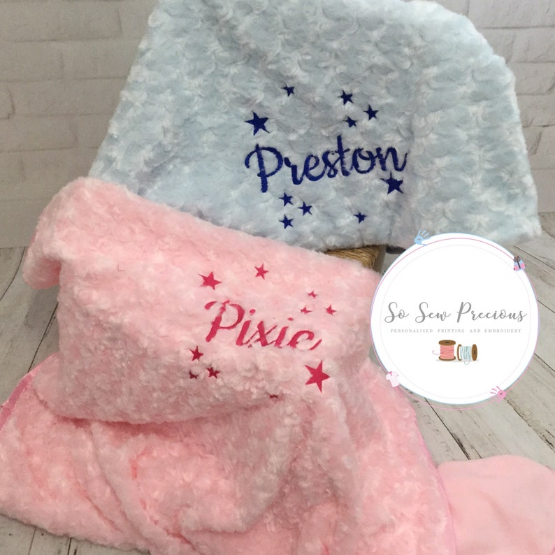 name fairy design any colour embroidered Personalised baby blanket unisex
