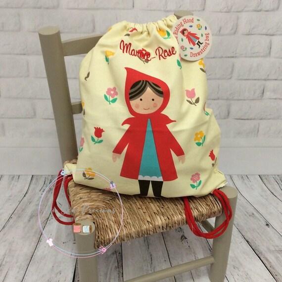 Personnalisé, sac à cordon sac à dos, Red Riding Hood de l'enfant, sac personnalisé, école maternelle