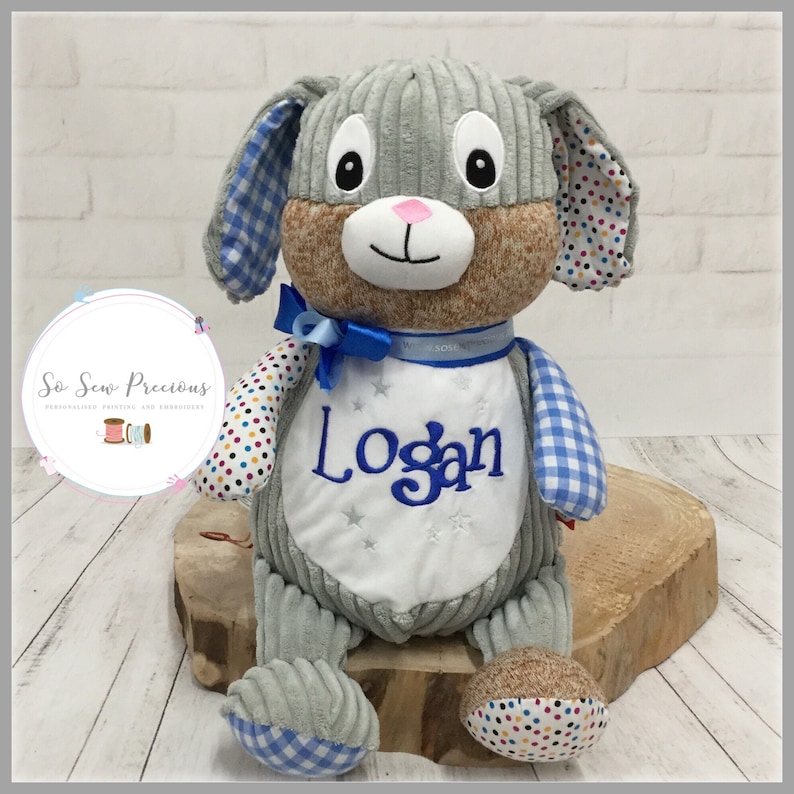 Harlequin Patchwork Blue Bunny Cubbie Custom Embroidered Stuffed Bunny Cubbie Monogrammed Bunny