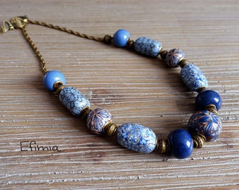 Beaded necklace with European style in blue, Brown and beige tones necklace