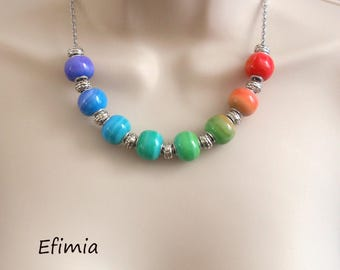 Necklace made of pearls round polymer clay Rainbow colors