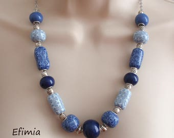 Blue necklace graphic pattern