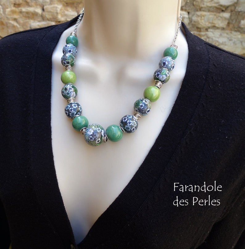gray and black European style pearl necklace floral decoration shades green silver chain fimo polymer paste
